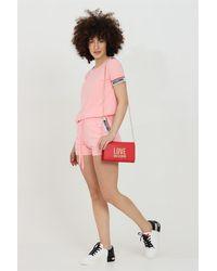 Moschino Shorts donna rosa casual con banda logata laterale e molla in vita lacci - Rose
