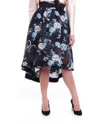 Custommade• Falda larga fantasía negra a medida - Azul