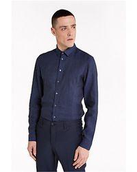 Patrizia Pepe 5c055b/a6r6 camicia in lino - Blu