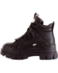Buffalo Aspha nc mid 1622045 sneaker alta in similpelle vegan con inserti logati a contrasto - Noir