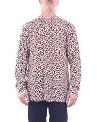 Tintoria Mattei 954 Camisa teñida mattei 954 blanco y marrón - Rojo