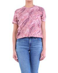 J Brand T-shirt rose à motifs manches courtes
