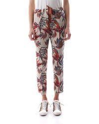 40weft Pantalone jogging in misto lino, con grafiza sterlizia - Blanc