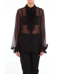 Alberta Ferretti Camisa negra clásica con mangas largas de - Negro