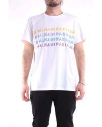 Balmain Camiseta blanca de manga corta - Blanco