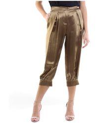 Manila Grace Pantalone cargo color bronzo - Marrone