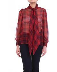Saint Laurent Chemisier transparent rouge et noir à manches longues