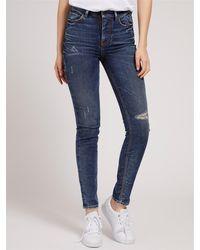 Guess Jeans vita alta usurato completamente made in italy 99%co 1%ea - Bleu