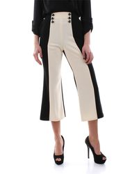 Elisabetta Franchi Pantalone cropped bicolore 100%pl - Nero