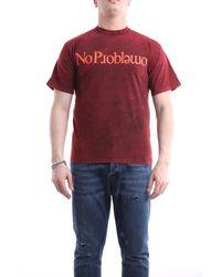 Aries Camiseta de manga corta en color burdeos - Rojo