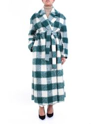 Erika Cavallini Semi Couture Abrigo largo cuadros verde y blanco - Azul