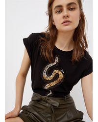 Liu Jo T-shirt smanicata con applicazioni - Noir
