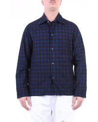Tintoria Mattei 954 Camisa azul y marrón oscuro