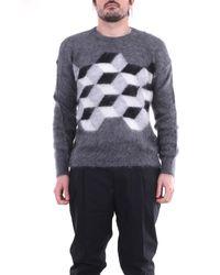Moncler Suéter de cuello redondo blanco gris y negro