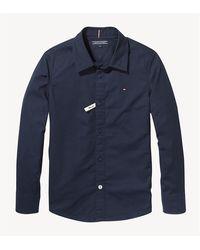 Tommy Hilfiger Camicia realizzata in morbido popeline stretch, piccola bandierina tommy sul petto, 97% cotone 3% elastane - Azul