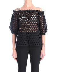 Hanita H.m2242.3006 blusa in cotone traforato - Negro