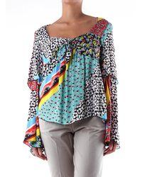 be Blumarine Blouse noire à motifs manches longues - Multicolore