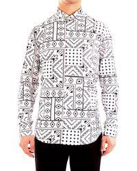 Patrizia Pepe 5c055b/a8e9 camicia con stampa bandana in jersey elasticizzato - Blanco