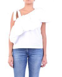 Suoli Top con spalla scesa di colore - Bianco