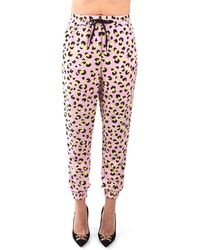 Love Moschino Wpa18 00 t9963 pantalone jogging dalla vestibilità morbida con stampa animalier rosa
