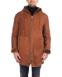 Desa Reversible sherling coat razado jacket tobacco - Marrone