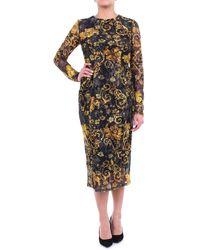 Versace Jeans Couture Abito lungo nero fantasia con maniche lunghe