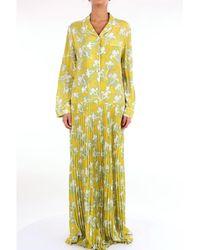 Valentino Robe Longue Plissée En Crêpe De Chine De Soie Imprimé - Jaune