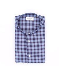 MASTRICAMICIAI Camicia a quadri slim fit in cotone - Blu