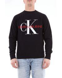 Calvin Klein Sweatshirt mit rundhalsausschnitt und logo auf der vorderseite - Schwarz