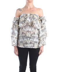 Erika Cavallini Semi Couture E0sv11 blusa omerale - Grigio