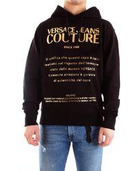 Versace Jeans Couture - B7gwa7twwup306 felpa con cappuccio e stampa etichetta logo laminata - Lyst