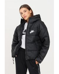 Nike Giubbotto donna nero con logo a contrasto - Negro