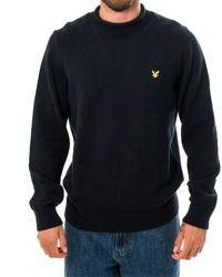 Lyle & Scott Felpa funnel rool top knitted jumper kn1365v.z271 - Blau