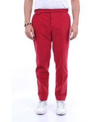 PT Torino Pantalon en coton uni - Rouge
