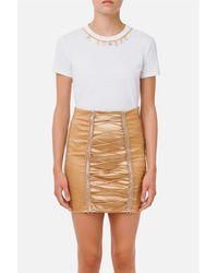 Elisabetta Franchi T-shirt girocollo collana charm gold removibile manica corta vestibilità aderente 100%co - Blanc