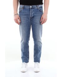 Aglini Jean 5 poches en coton stretch - Bleu