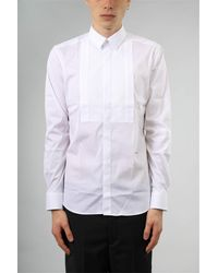 Les Hommes Camicia smoking in popeline stretch - Bianco
