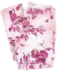 J Brand Pantalones de corte slim con cinco bolsillos fantasía en rosa y violeta