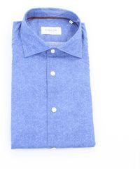 Tintoria Mattei 954 Camicia di colore azzurro - Blu
