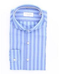 Tintoria Mattei 954 Camicia celeste e blu