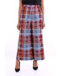 Stella Jean Pantalone a palazzo multicolor - Rosso