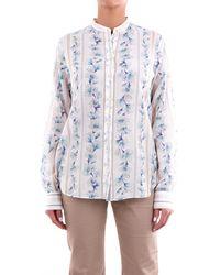 Forte Forte Blusa de manga larga crema fantasía - Azul