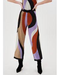 Liu Jo Pantalone in magliafilati viscosa stretchinterventi lurex®intarsi multicolore all overcintone elastico vita 70%vi 15%pl 15%plm
