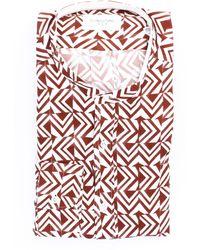 Tintoria Mattei 954 Chemise dyeing mattei 954 blanche et marron - Multicolore