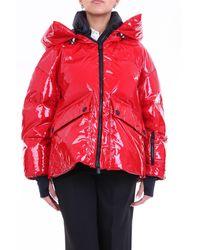 Moncler Red chaqueta de plumas con capucha - Rojo