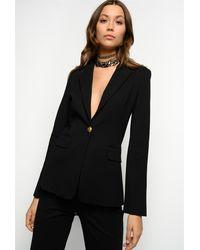 Pinko Giacca blazer in viscosa lavorata a punto stoffa con collo rever e tasche patta sui fianchi 67%vi 28%pa 5%ea - Noir
