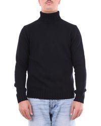 Heritage Col roulé en laine peignée noire