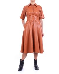 Jucca Vestido largo en color piel con mangas cortas - Naranja