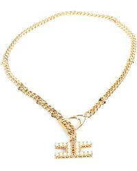 Elisabetta Franchi Co04b16e2 collana catena con pendente perle - Metallizzato