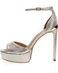 Guess Alden fl5aldlea07 sandalo laminato con cinturino alla caviglia - Blanc